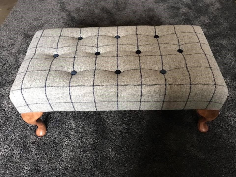 Medium footstool in check fabric